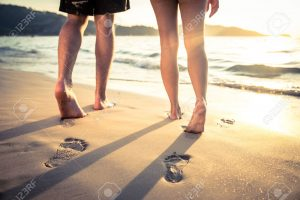 37668788 Couple of lovers walking on the each at sunset Foot prints on the beach Stock Photo 300x200 - 37668788-Couple-of-lovers-walking-on-the-each-at-sunset-Foot-prints-on-the-beach-Stock-Photo